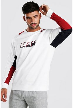 White MAN Colour Block Varsity Sweatshirt