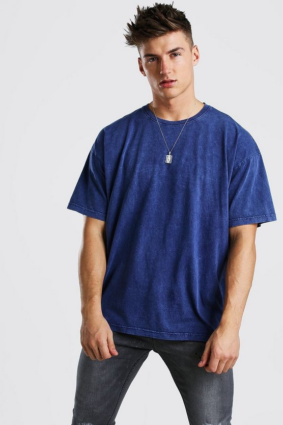 Navy Oversized T-Shirt In Acid Wash