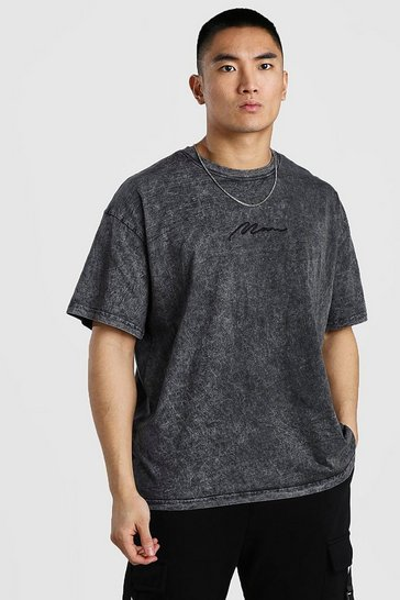 Charcoal Oversized MAN Signature T-Shirt In Acid Wash