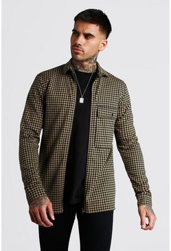 Tan Dogtooth Jacquard Zip Through Shirt Jacket