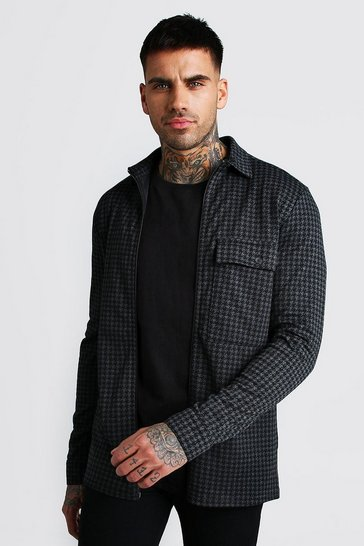 Charcoal Dogtooth Jacquard Zip Through Overshirt
