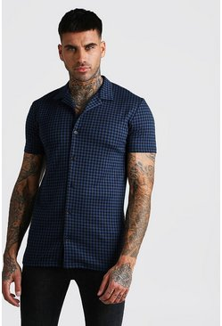 Blue Short Muscle Fit Dogtooth Shirt