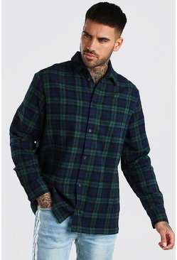 Blue Long Sleeve Oversized Check Shirt