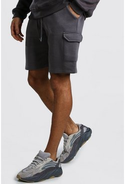Short cargo mi-long en jersey, Anthracite