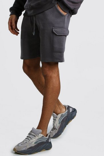 Charcoal Mid Length Jersey Cargo Short