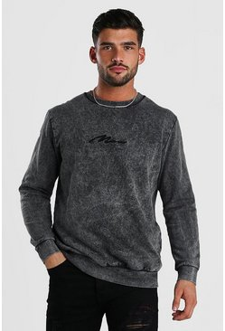 Sweat-shirt délavé à l'acide signature MAN, Anthracite