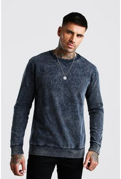 Charcoal Sweatshirt In Acid Wash