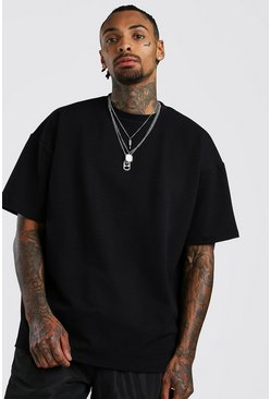 Mens Black Oversized T-Shirt In Textured Fabric