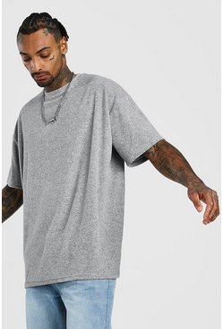 Mens Grey Oversized T-Shirt In Towelling