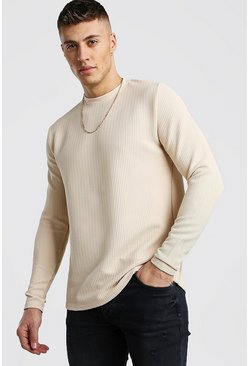 Stone Long Sleeve Waffle T-Shirt With Curved Hem