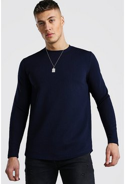 Navy Long Sleeve Waffle T-Shirt With Curved Hem