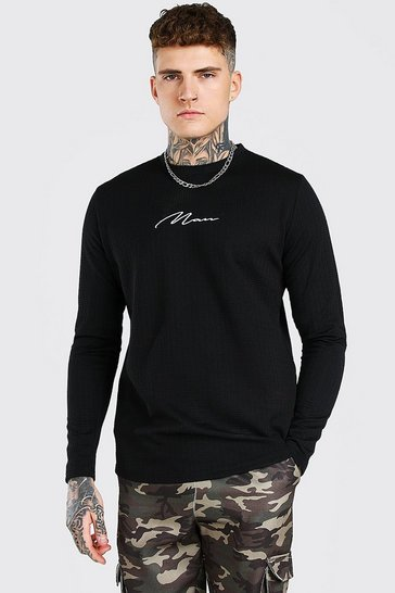 Black MAN Signature Long Sleeve Waffle T-Shirt