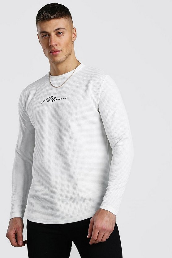 White MAN Signature Long Sleeve Waffle T-Shirt