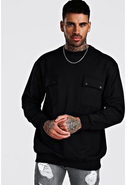 Black Oversized Utility Pocket Sweatshirt