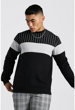 Black Colour Block Sweatshirt With Stripe Panel