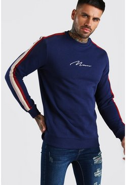Mens Navy MAN Signature Sweatshirt With Tape