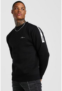 Black MAN Signature Tape Sweatshirt