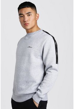 Grey marl MAN Signature Sweatshirt med kantband