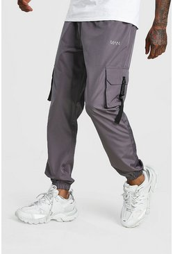 Grey Original MAN Shell Cargo Buckle Joggers