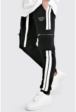 Black Original MAN Cargo Joggers With Side Tape