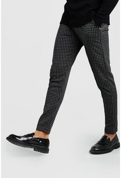 Charcoal Dogtooth Skinny Fit Pintuck Jogger Trouser