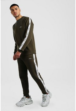 Khaki MAN Signature Tape Sweater Tracksuit