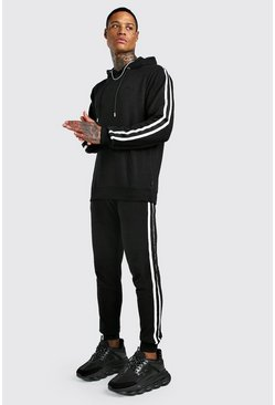 Black MAN Pique Hooded Tracksuit