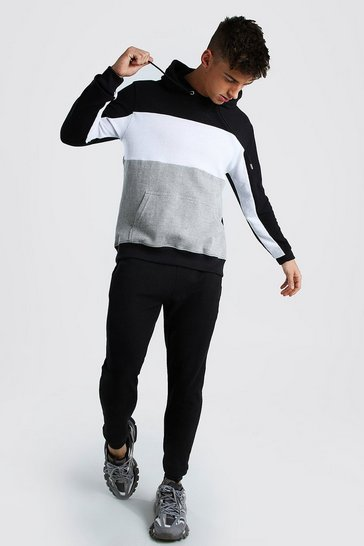 Black MAN Colour Block Pique Hooded Tracksuit
