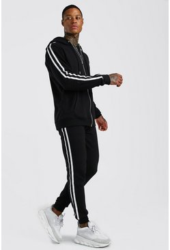 Black MAN Pique Zip Through Hooded Tracksuit With Tape