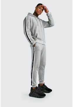 Grey MAN Pique Zip Through Hooded Tracksuit With Tape