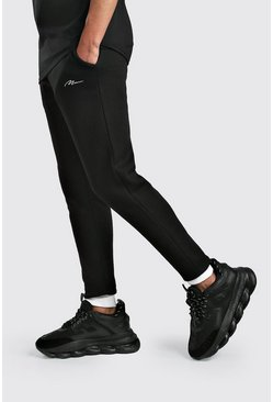 Black MAN Signature Skinny Fit Jogger With Contrast Cuff