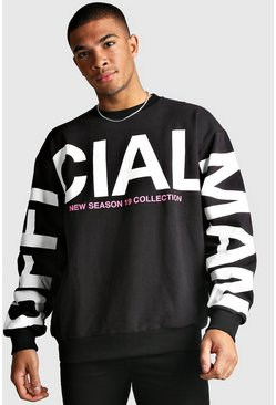 Black Oversized MAN Official Sleeve Print Sweatshirt