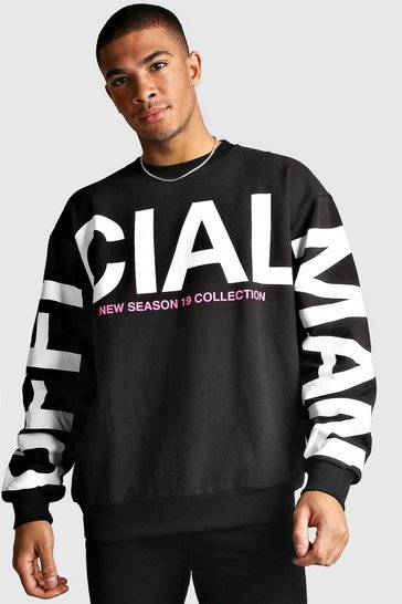 Mens Black Oversized MAN Official Sleeve Print Sweatshirt