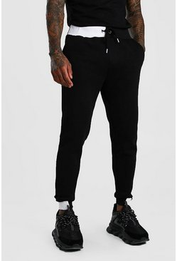 Jogging skinny avec demi-revers color block, Noir