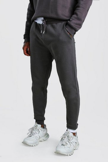Charcoal Skinny Fit Jogger With Half Colour Block Cuff