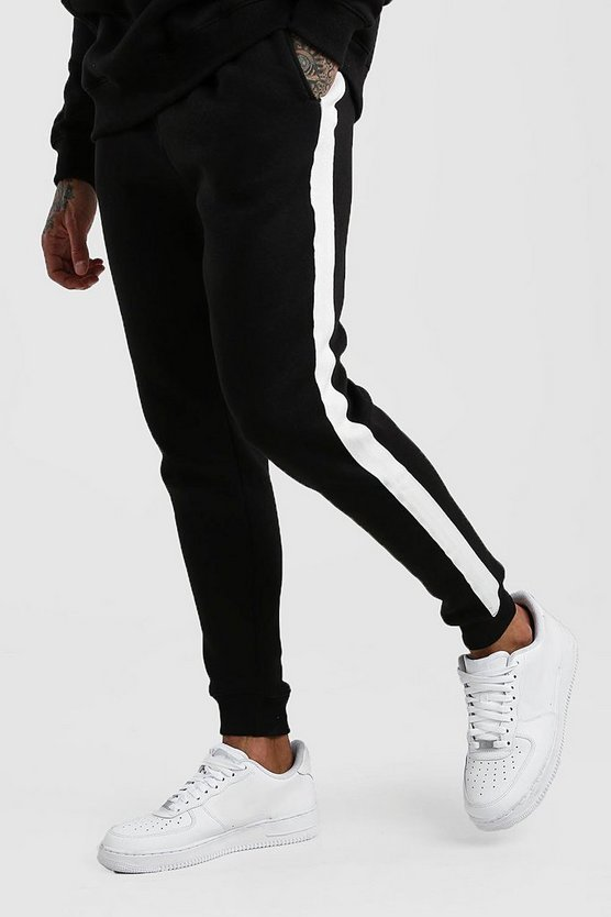 Black Skinny Fit Jogger With White Side Tape