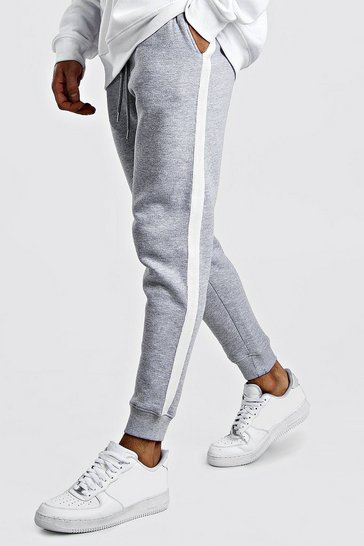 Grey marl Skinny Fit Jogger With White Side Tape