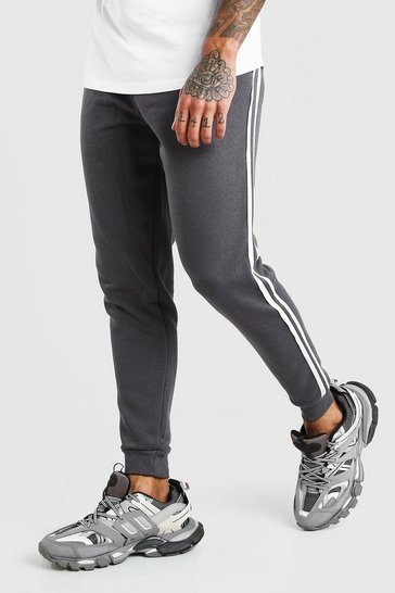 Charcoal Skinny Fit Jogger With Side Tape
