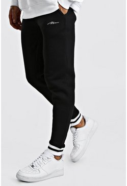 Black MAN Signature Skinny Fit Jogger With Rib Cuff