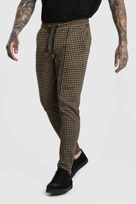 Brown Dogtooth Skinny Fit Pintuck Jogger Trouser