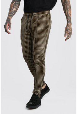 Mens Brown Dogtooth Skinny Fit Pintuck Jogger Trouser