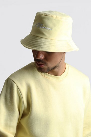 Yellow MAN Script Bucket Hat