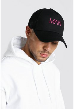 Black MAN Embroidery Truck Cap