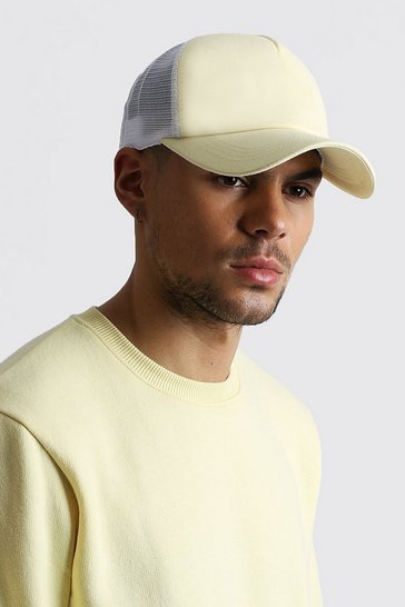 Yellow Pastel Front Mesh Back Trucker