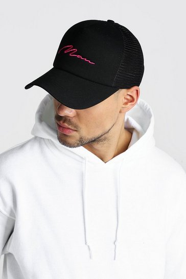 Black MAN Signature Embroidered Trucker Cap