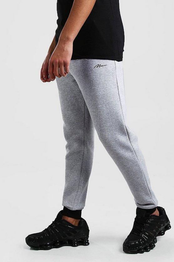 Grey marl MAN Signature Skinny Fit Jogger With Cuff