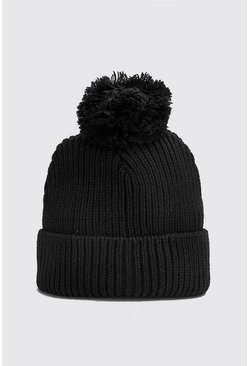 Mens Black Bobble Beanie Hat