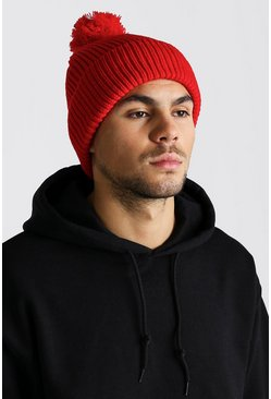 Mens Red Bobble Beanie Hat