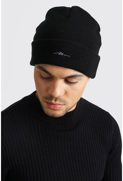 Black Smaller Embroidery MAN Script Beanie