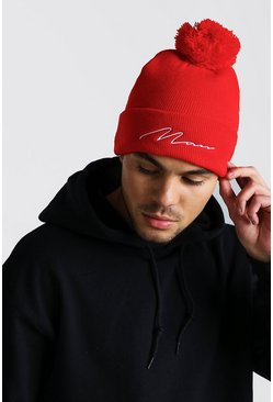 Mens Red MAN Script Bobble Beanie